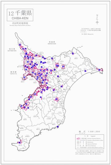 千葉県人口集中地区境界図