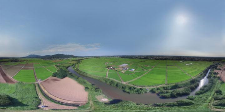 ドローン空撮による全天球空中パノラマ写真の作成