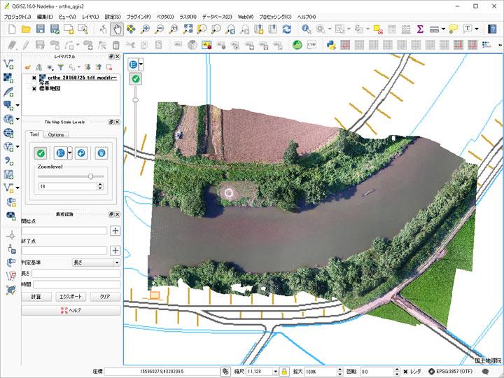 簡易オルソ画像のGISソフト表示