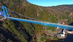 ドローン空撮全天球パノラマ写真竜神大吊り橋