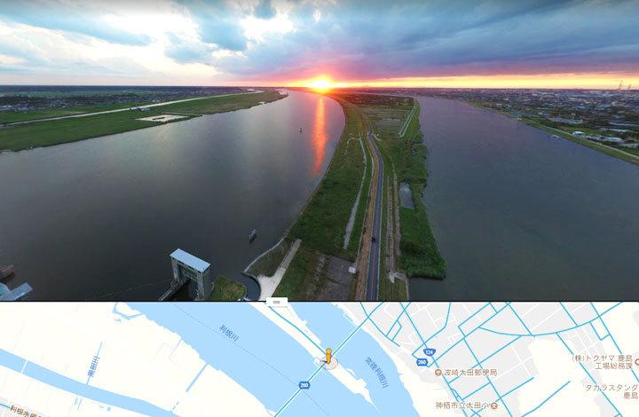 常陸利根川水門全天球パノラマ写真