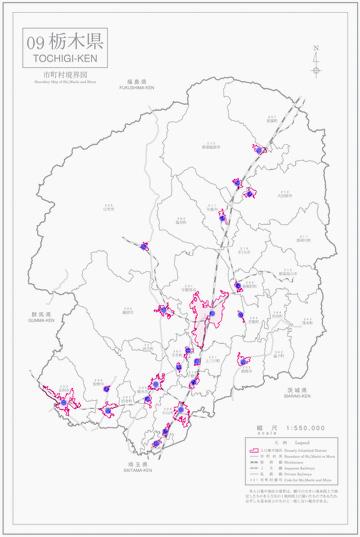 栃木県人口集中地区境界図