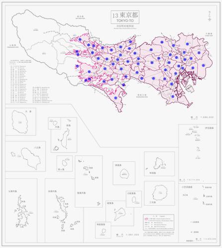 東京都人口集中地区境界図