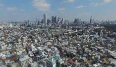ドローン空撮全天球パノラマ写真東京都渋谷区上原